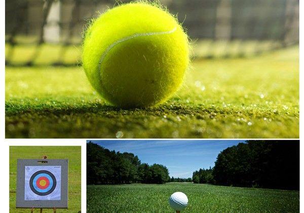 Deporte y gafas de sol: reflexión en la hierba.