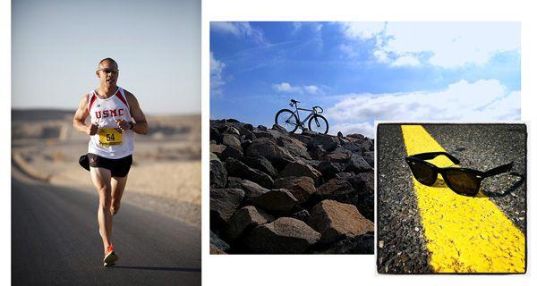 Deporte y gafas de sol: reflexión en el asfalto.